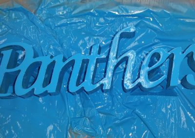 panthers wood carved sign