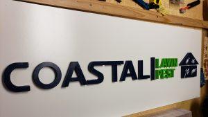 laser cut letters wooden sign engraving coastal lawn pest