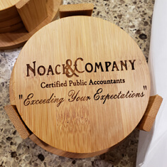 laser engraved business coasters