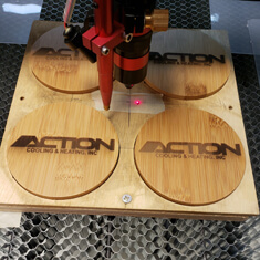 laser engraved wooden coasters