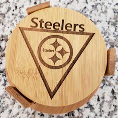 laser marked nfl steelers coaster